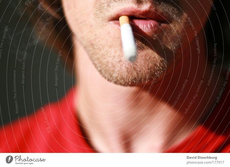 Raucher haben es schwer Mensch Jugendliche Erwachsene Gesicht Kopf Junger Mann 18-30 Jahre Haut Mund maskulin einzeln Rauchen Lippen Bart Zigarette