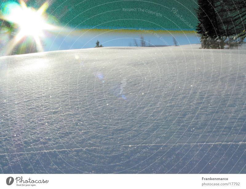 Schneeblind Gegenlicht Überbelichtung unberührt Hügel Tiefschnee Berge u. Gebirge Sonne Beleuchtung Skipiste