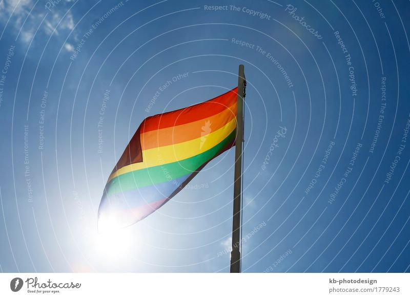 Rainbow flag on a flagpole in front of blue sky Lifestyle Homosexualität Wind Zeichen Fahne Liebe rainbow rainbow flag relationship freedom discrimination
