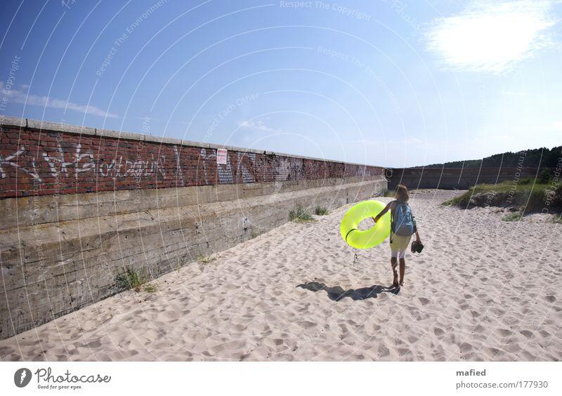 Niemand hat die Absicht, eine Mauer zu errichten Wasser blau grün rot Sonne Sommer Meer Strand gelb Wand Graffiti grau Wärme Sand Mauer Luft