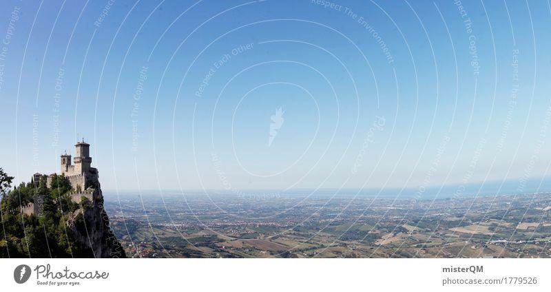 Blick von San Marino Sommer Landschaft Ferne Berge u. Gebirge Umwelt Mauer Horizont Feld Aussicht hoch Italien Schönes Wetter Turm Burg oder Schloss