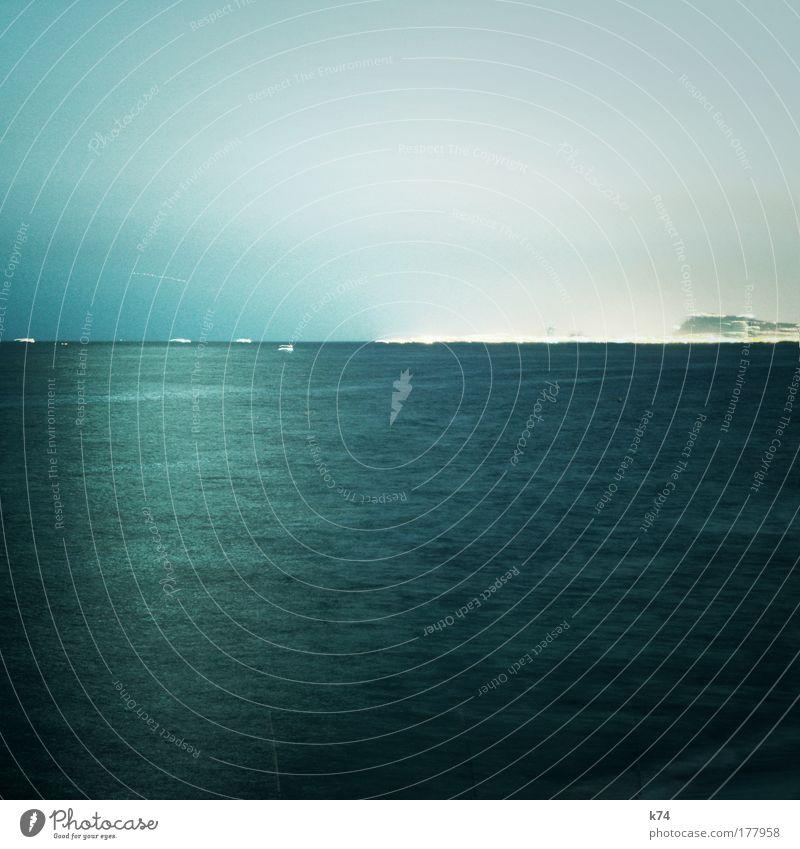 seascape with moonlight, harbour, airtraffic, seatraffic Wasser Meer Wasserfahrzeug Verkehr Hafen leuchten Mond Verkehrswege Schifffahrt Fähre Kreuzfahrt Verkehrsmittel Fischerboot Motorboot Dampfschiff Sportboot