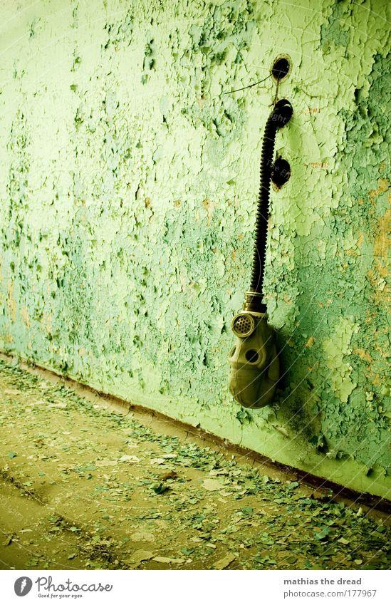 HÄNGEN GELASSEN alt grün schwarz Einsamkeit Wand grau Stein Mauer braun dreckig Fassade Geschwindigkeit trist Fabrik Maske verfallen