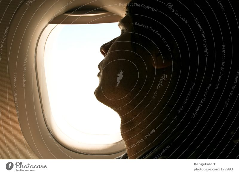 Über den Wolken Mensch Jugendliche Sonne Sommer Strand Ferien & Urlaub & Reisen Meer ruhig Erholung Freiheit Zufriedenheit Horizont Flugzeug Beginn Tourismus