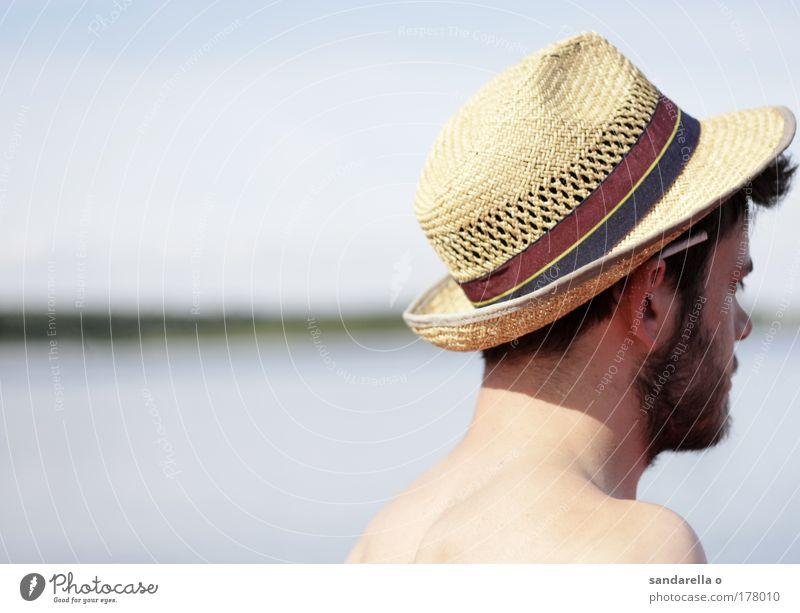 mit hut von halb seitlich hinten, zigarette hinterm ohr Natur Wasser weiß blau Ferien & Urlaub & Reisen Freiheit wandern Horizont Rauchen Unendlichkeit Bart Hut positiv Blick Porträt
