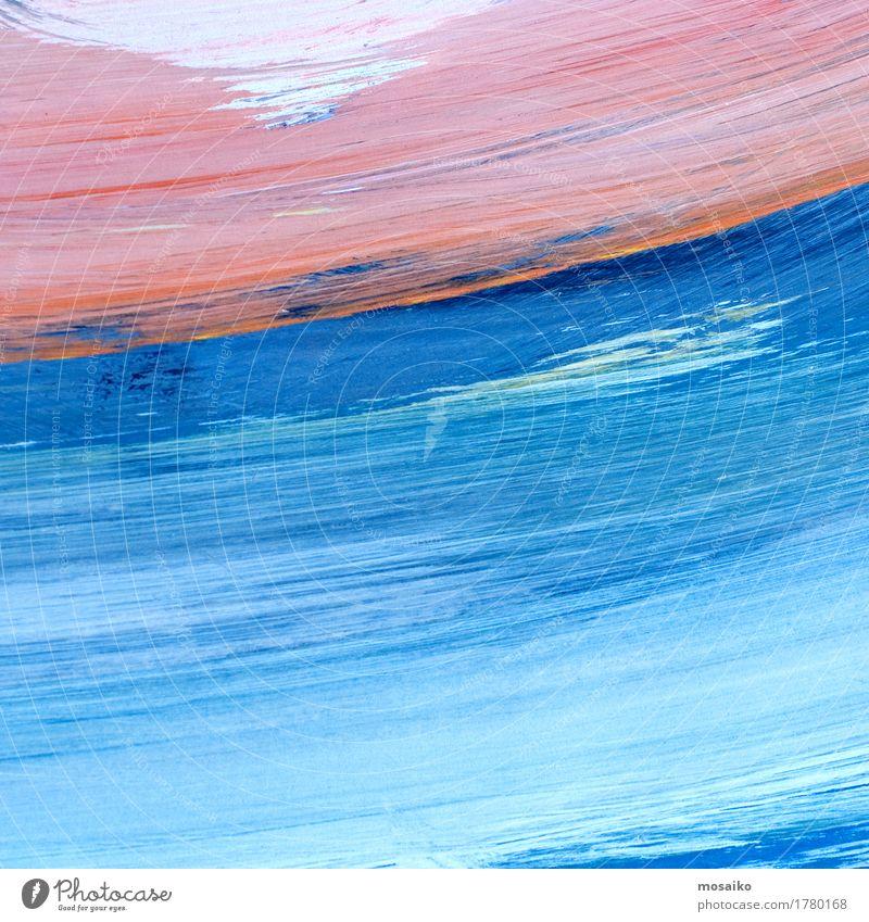 Wasserfarben Himmel blau Farbe Wolken Stil Kunst Design rosa Zufriedenheit Wellen ästhetisch Papier malen Wellness Bildung