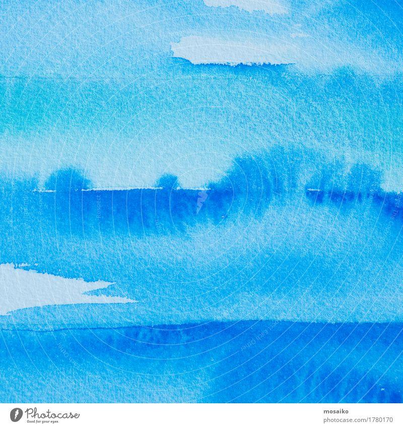 blaue Wasserfarben Kind weiß Freude Farbstoff Design träumen Idee Papier malen Tropfen Bildung Gemälde zeichnen Inspiration