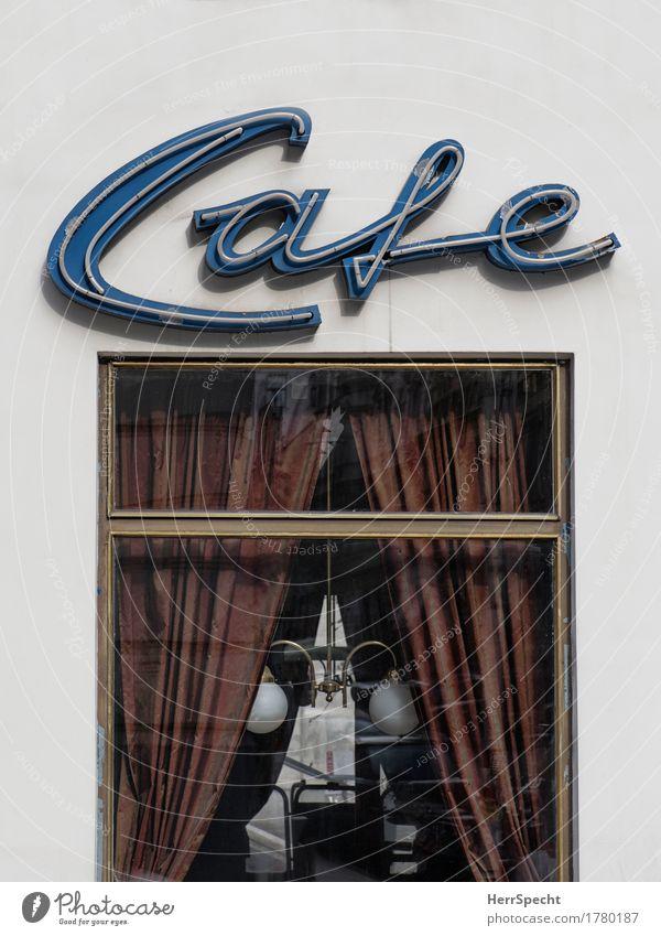 Café Wien Stadtzentrum Altstadt Fenster Schriftzeichen ästhetisch historisch retro Kaffeehauskultur Vorhang Lampe altmodisch gemütlich Neonlicht Leuchtreklame