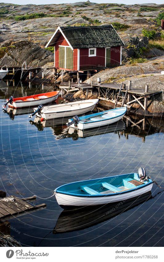 Kleiner Fischerhafen auf einer Schäre Natur Ferien & Urlaub & Reisen Pflanze Sommer Landschaft Freude Umwelt Küste Stein Tourismus Wasserfahrzeug Ausflug Insel