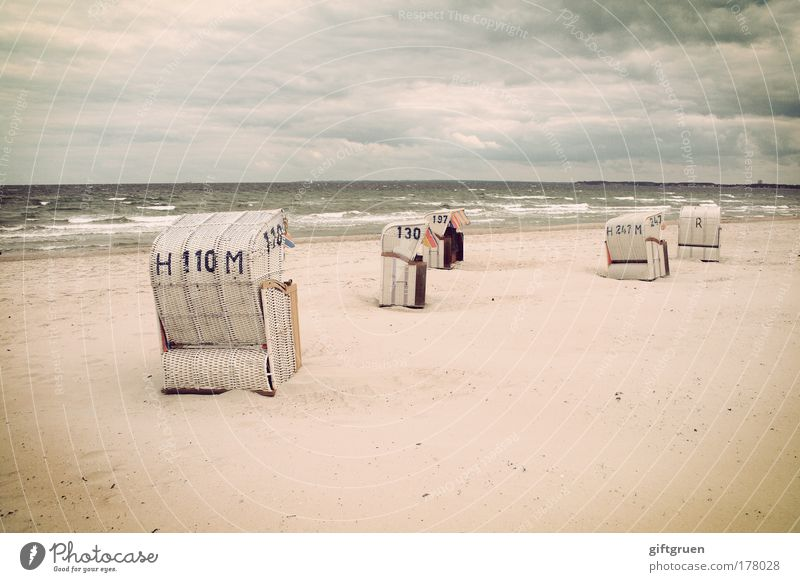 heiter bis wolkig Farbfoto Gedeckte Farben Außenaufnahme Menschenleer Textfreiraum unten Landschaft Sand Wasser Himmel Wolken Gewitterwolken Horizont Wellen