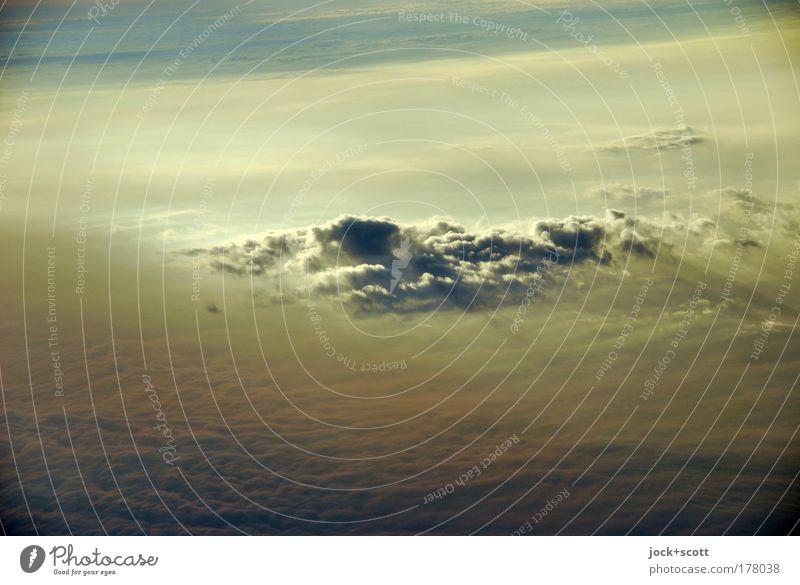 Wolke Sieben in Kontur Luft nur Himmel Wolken Schönes Wetter authentisch Ferne goldgelb Luftaufnahme Wolkenhimmel Wolkendecke über den Wolken himmlisch