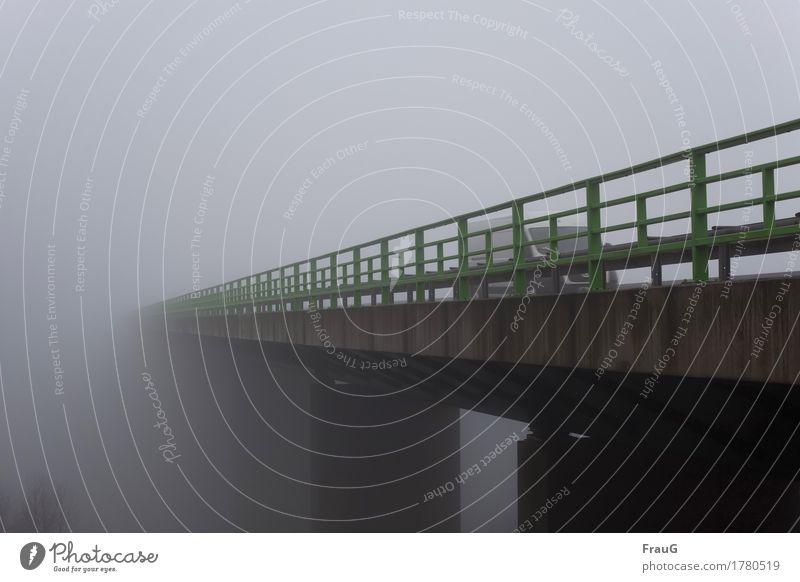 Road from nowhere Wetter Nebel Baum Brücke Verkehrswege Straßenverkehr Autofahren Autobahn Transporter Beton Metall hoch grün Irritation Geländer Farbfoto