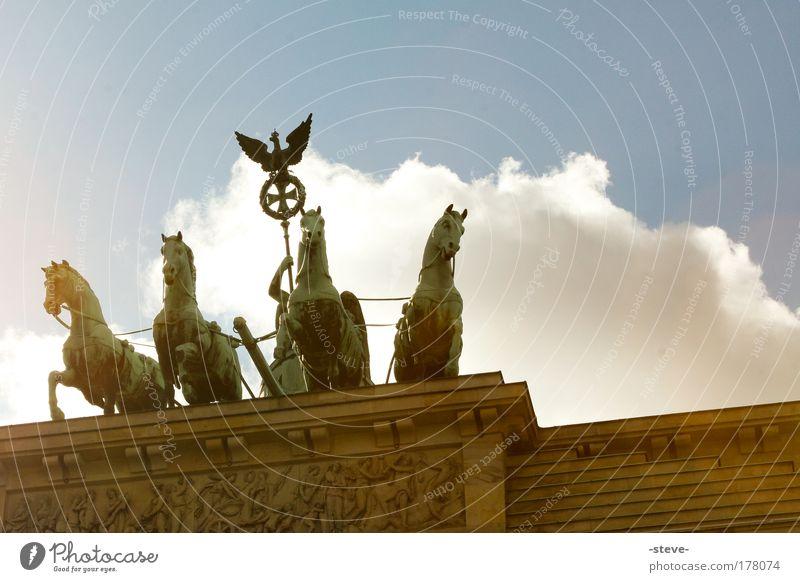 Pferde in der Großstadt Farbfoto Außenaufnahme Tag Licht Silhouette Reflexion & Spiegelung Skulptur Tor Bauwerk Sehenswürdigkeit Wahrzeichen blau braun grün