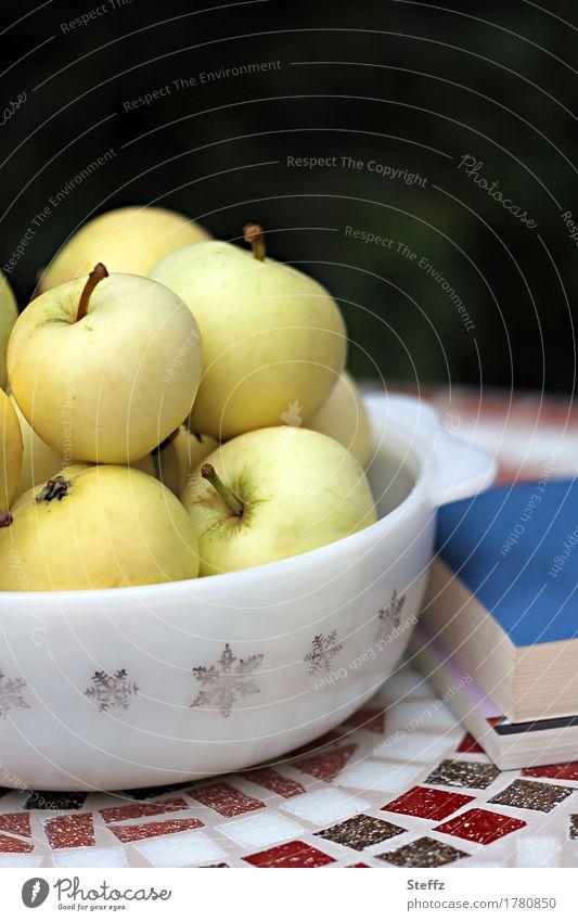 Pause im Garten mit Büchern und Äpfeln Klarapfel Obst lesen Lesestoff Lifestyle Zufriedenheit Lektüre Gelassenheit Erholung enstpannen relaxen Entspannung