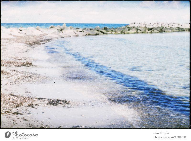 Kalifornien/Ostsee Sommer Strand Umwelt kalt Küste Stimmung Schönes Wetter Schutz Bucht Umweltschutz deutlich analog Buhne Wellenform