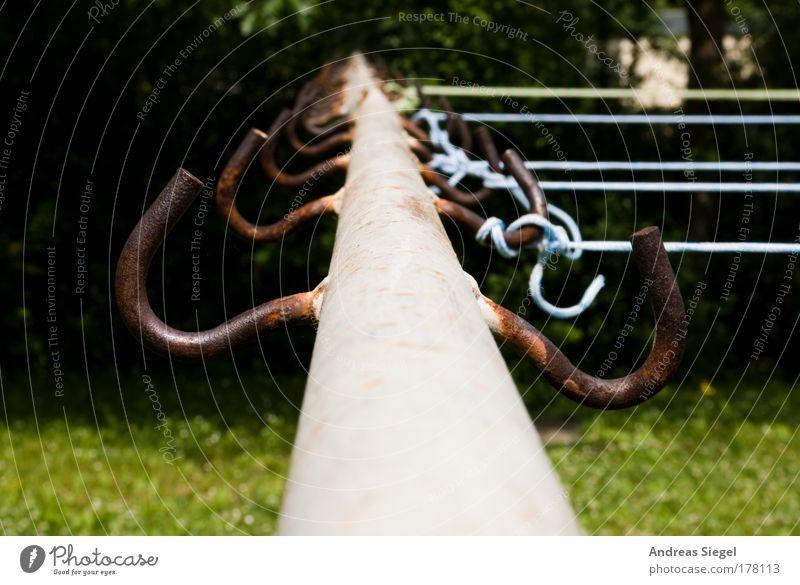Angeleint alt blau grün Wiese grau Garten Metall Linie braun trist Häusliches Leben verfallen trashig Haken Wäscheleine Seil
