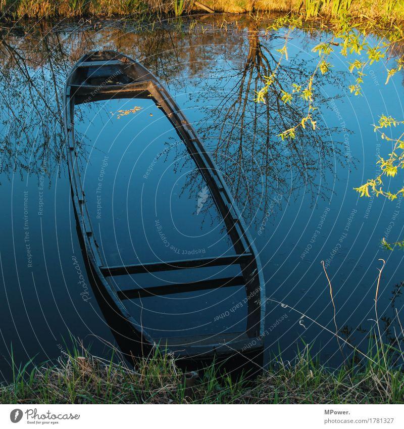 herbst an der spree Natur Herbst Pflanze Seeufer Flussufer nass Wasserfahrzeug Spree Spreewald untergehen Wasseroberfläche Fischerboot Baum alt kaputt Farbfoto