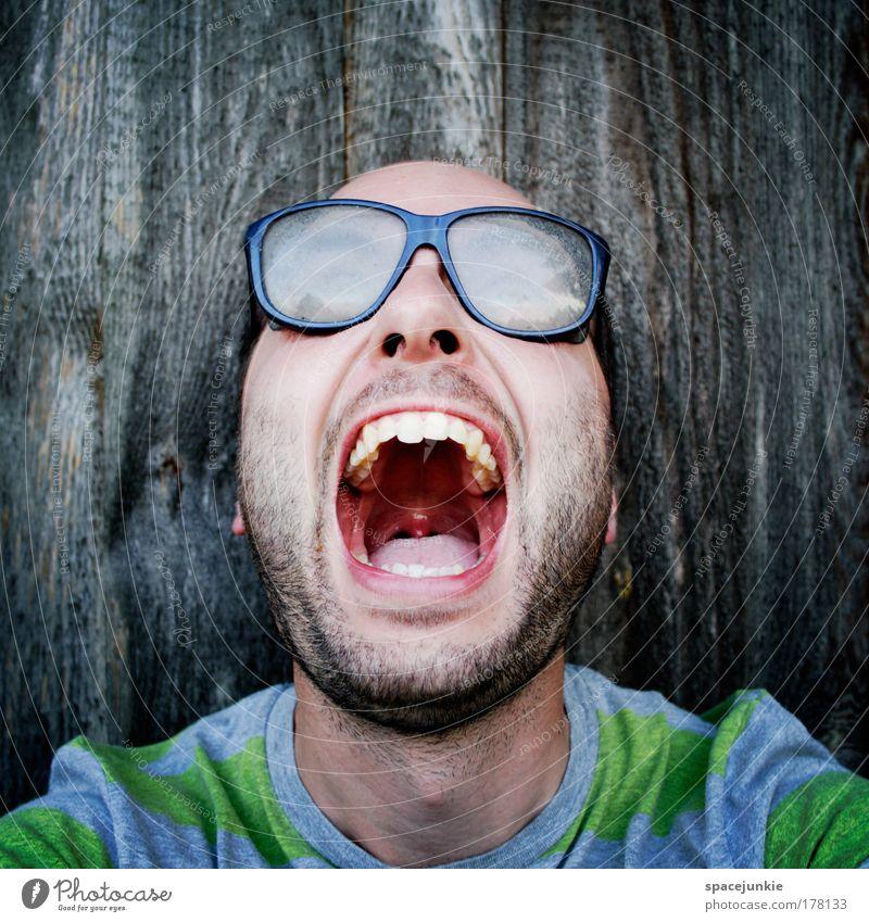 Wahnsinn Mensch Erwachsene Gesicht Kopf Mund Angst maskulin gefährlich Brille Blick nach oben Zähne gruselig Wut Bart Stress Freak