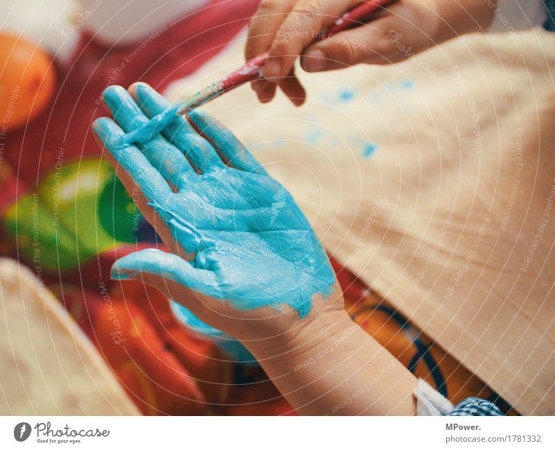 handful of color Mensch Kind Kleinkind Kindheit Hand 1 Kunst Künstler Maler Spielen malen Farbe mehrfarbig matschen blau türkis Pinsel Finger Fingerabdruck