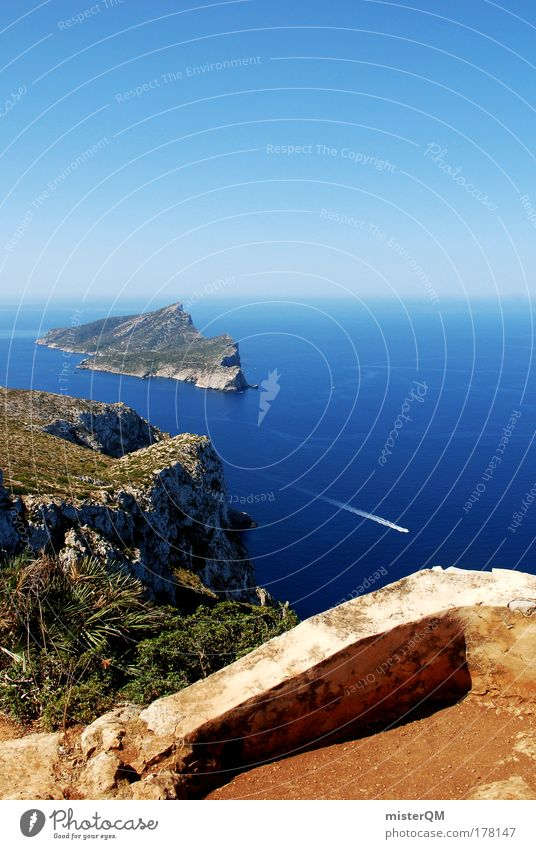 Weitblick. Natur schön Ferien & Urlaub & Reisen Meer ruhig Erholung Luft Wasserfahrzeug Ausflug hoch Insel Tourismus Pause Dorf Gipfel Aussicht