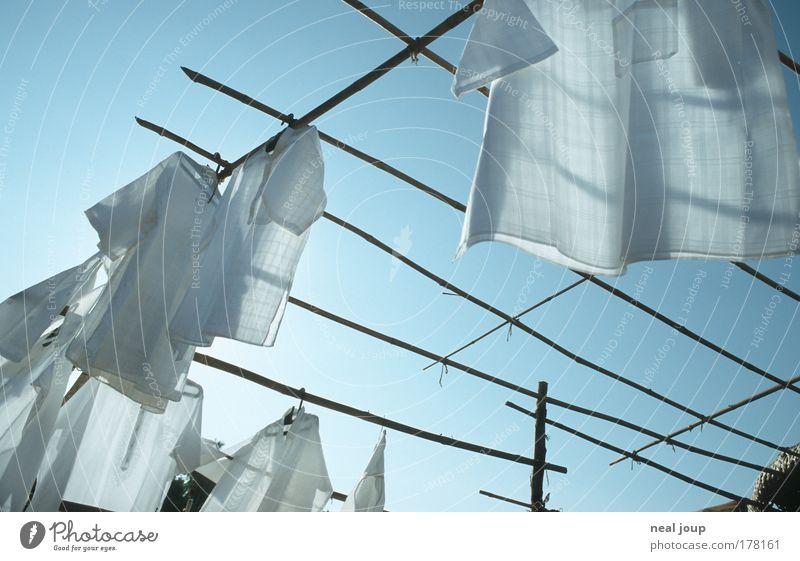 Hemden von der Stange blau weiß Sommer oben Stil frisch ästhetisch Sauberkeit Klarheit rein Hemd Duft Indien Ehrlichkeit bescheiden sparsam
