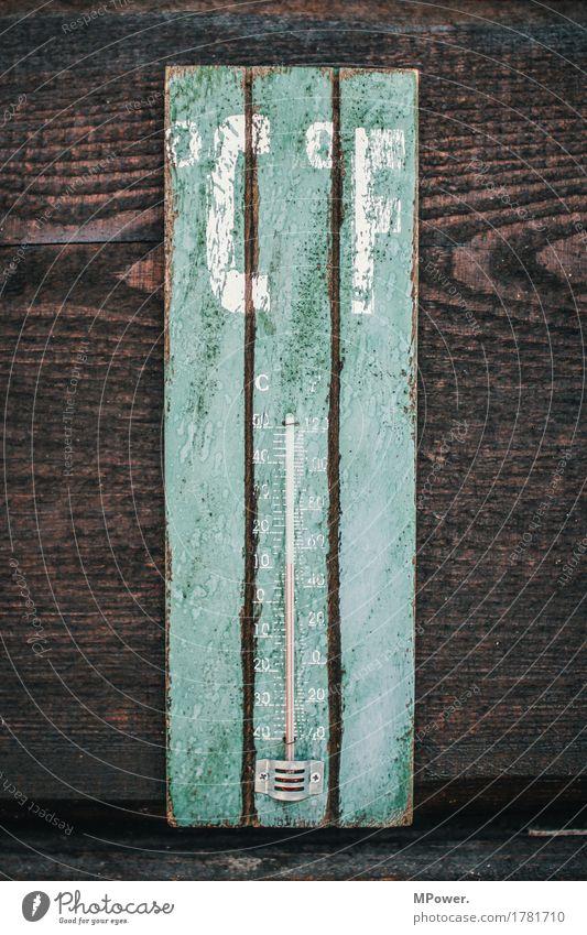 °c°f Werkzeug Technik & Technologie alt Thermometer Holz Skala Holzwand türkis heiß kalt Temperatur braun aussenthermometer Farbfoto Detailaufnahme Menschenleer