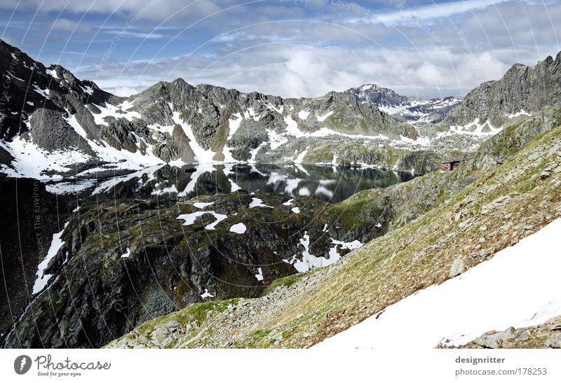 Fernweh ruhig Wolken Berge u. Gebirge träumen See Kraft Angst groß Felsen hoch Hoffnung Macht Klettern Alpen Gelassenheit Gipfel