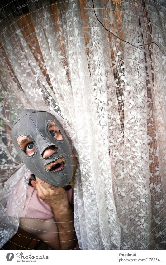 feurige natascha Mensch Mann Einsamkeit Erwachsene Auge Traurigkeit träumen Angst maskulin wild verrückt bedrohlich einzigartig Maske gruselig Todesangst