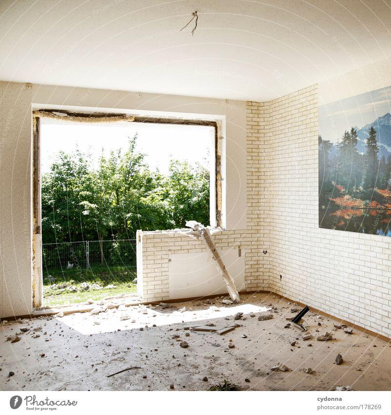Stoßlüftung Einsamkeit Leben Wand Gefühle Tod Fenster Traurigkeit Mauer Architektur Wohnung Perspektive Ende Wandel & Veränderung Dekoration & Verzierung