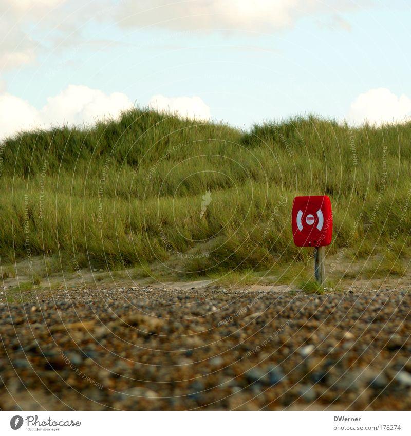 Rettung ist nahe... Strand Meer Wellen Sand Himmel Wolken Wind Sturm Gras Küste Nordsee Ostsee Beiboot Sicherheit Schutz Solidarität Todesangst