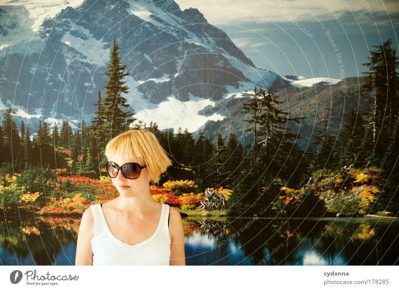Kurzurlaub Frau Mensch Natur Jugendliche schön Tapete Ferien & Urlaub & Reisen ruhig Ferne Leben Berge u. Gebirge Freiheit träumen Traurigkeit Landschaft