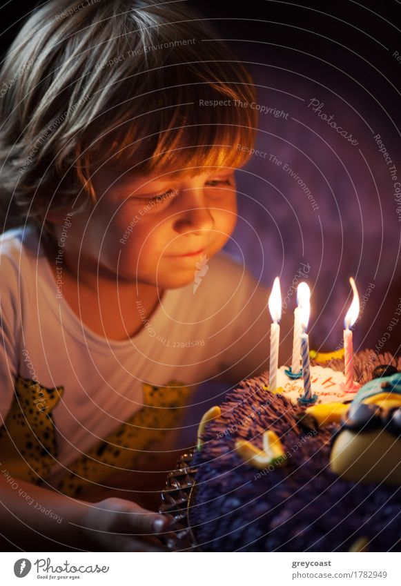 Kleiner Junge bläst Kerzen an seinem Geburtstag aus Mensch Kind Freude Gesicht klein Glück Feste & Feiern Dekoration & Verzierung blond Kindheit Fröhlichkeit