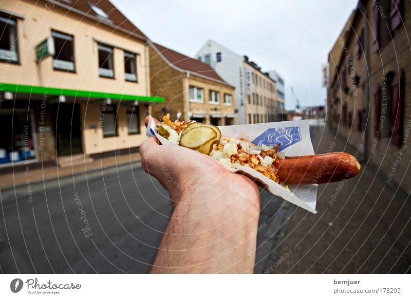 Hand hält einen Hotdog Ernährung Lebensmittel Finger Papier Küche festhalten lecker Fleisch Gemüse Wurstwaren Fastfood Kräuter & Gewürze Bratwurst Dänemark
