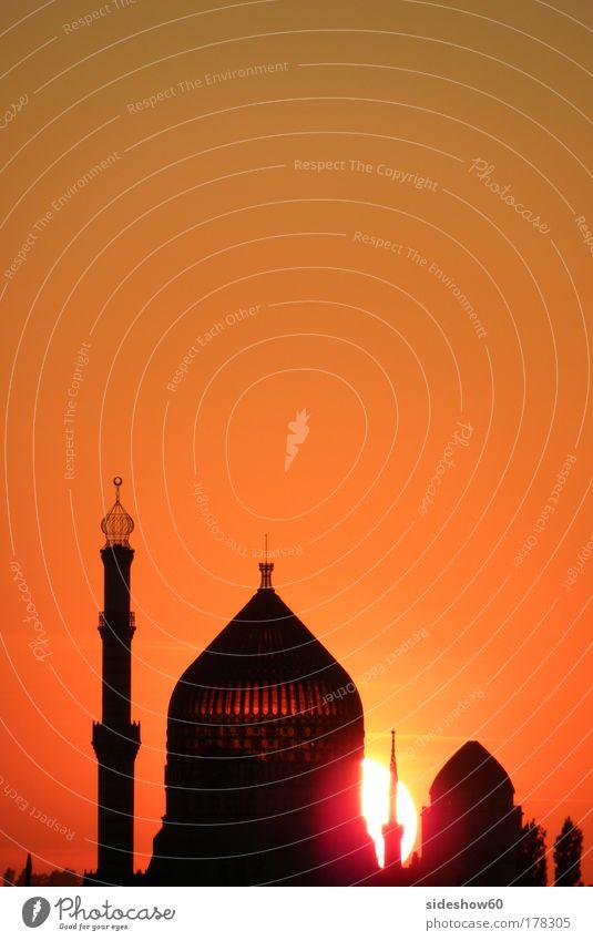Orient im Okzident Farbfoto Außenaufnahme Menschenleer Textfreiraum oben Textfreiraum Mitte Dämmerung Silhouette Sonnenaufgang Sonnenuntergang Gegenlicht