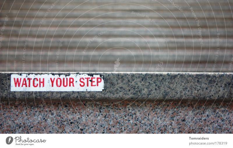 Watch your step..... Treppe Stein Zeichen Schriftzeichen Schilder & Markierungen Hinweisschild Warnschild bauen gehen laufen Unendlichkeit kaputt grau achtsam