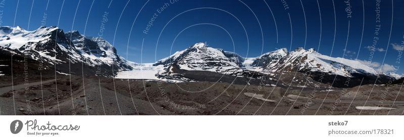 enteist blau ruhig kalt Schnee Berge u. Gebirge Landschaft Eis groß ästhetisch Frost Kanada Schönes Wetter Panorama (Bildformat) Gletscher Felsen Geröll