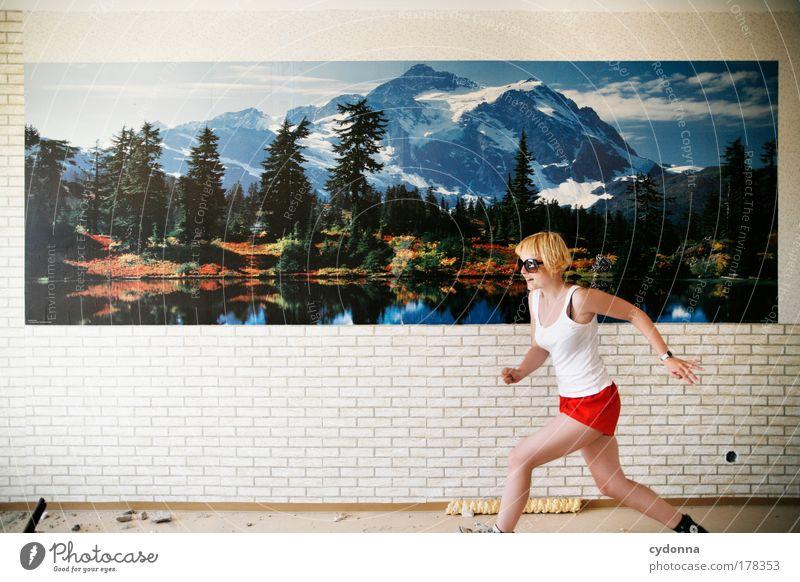 Speed-Side-Seeing Mensch Frau Natur Jugendliche schön Erwachsene Umwelt Landschaft Leben Wand Freiheit Bewegung Wege & Pfade Mauer träumen Freizeit & Hobby