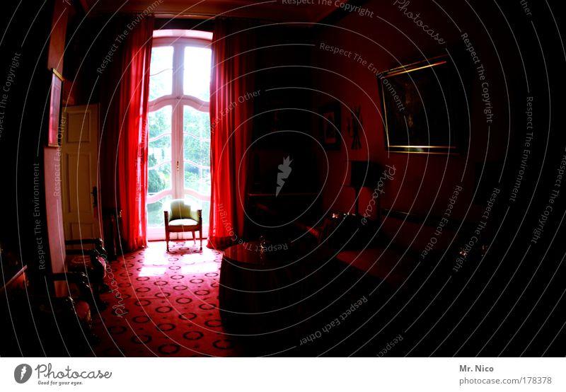 the dark side of the sun rot dunkel Fenster Raum Architektur Stuhl Spiegel Innenarchitektur Burg oder Schloss Reichtum Möbel Wohnzimmer Vorhang edel antik