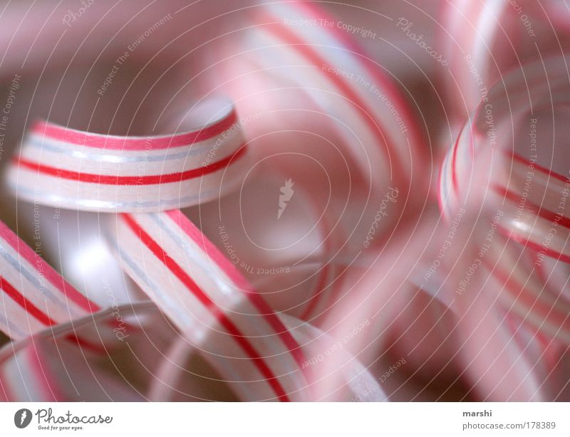 Kringel rot-weiß Farbfoto Zeichen Linie Streifen Schnur Schleife Kitsch rosa Geschenkband Verpackungsmaterial Kreis Strukturen & Formen Hintergrundbild