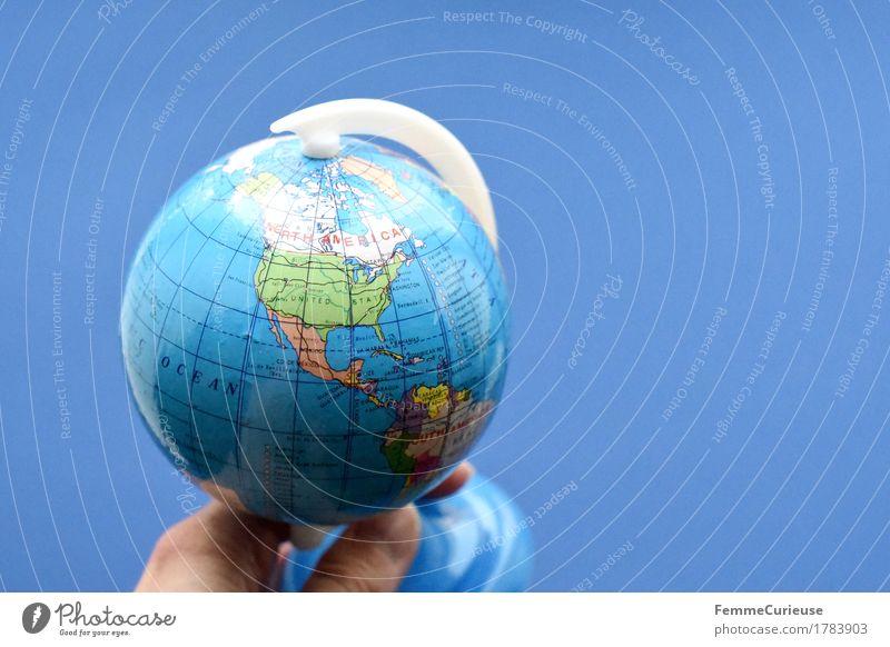 Globus_1783903 Ferien & Urlaub & Reisen blau Hand Erde Luftverkehr USA Finger planen festhalten Amerika Fernweh Kugel Kanada Englisch Atlantik