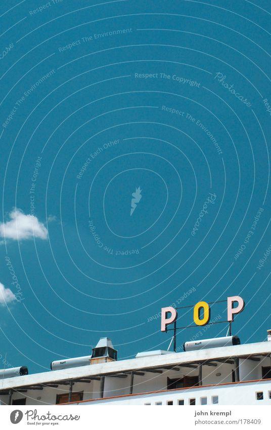 this is pop blau Sommer gelb Farbe Musik Gebäude Architektur Schriftzeichen Dach Schlagwort Hotel Werbung Bauwerk Typographie Popmusik