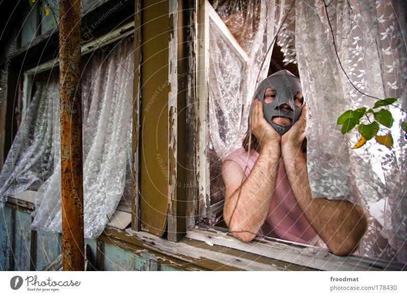 unrasiert glücklich Mensch Mann Freude Erwachsene lustig Zufriedenheit Freizeit & Hobby maskulin Behaarung außergewöhnlich Sicherheit Wandel & Veränderung Romantik Vergänglichkeit Neugier Maske