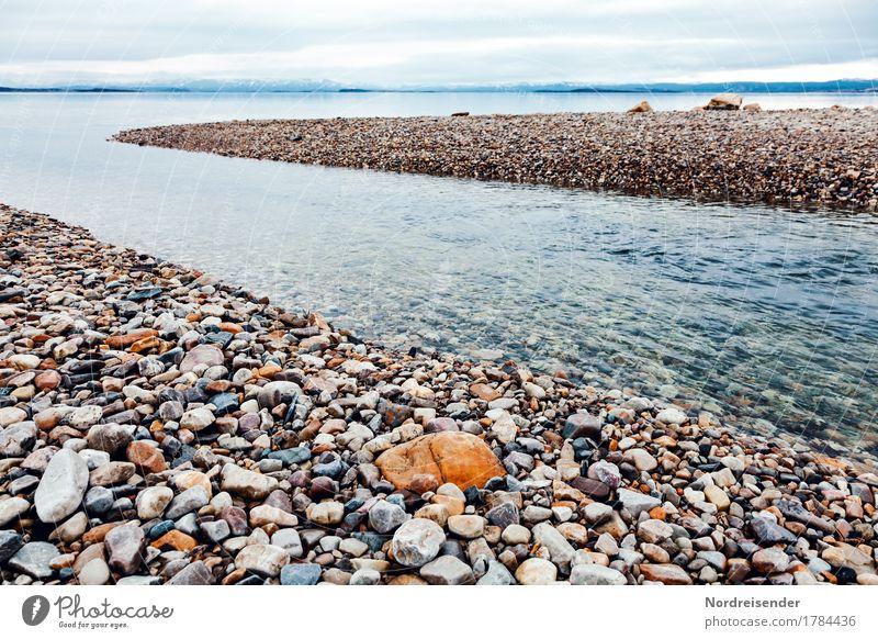 Kiesbank Ferien & Urlaub & Reisen Ferne Meer Natur Landschaft Urelemente Wasser Klima Schönes Wetter Küste Stein Unendlichkeit nass natürlich Einsamkeit Fluss