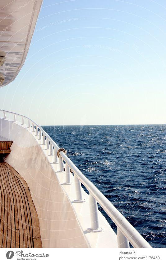 steuerboard Himmel Natur blau Wasser weiß Ferien & Urlaub & Reisen Sonne Meer Sommer Ferne Erholung Horizont Wellen Freizeit & Hobby Ausflug fahren