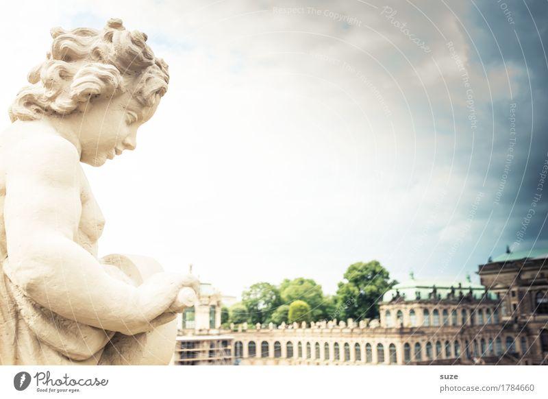 Goldlöckchen Himmel blau Stadt Architektur Religion & Glaube Deutschland Tourismus Kultur historisch Vergangenheit Symbole & Metaphern Sehenswürdigkeit Wahrzeichen Denkmal Engel Statue