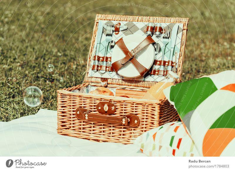 Picknick-Korb-Nahrung auf weißer Decke und Seifenblasen Natur Ferien & Urlaub & Reisen Farbe Sommer grün Gesunde Ernährung Erholung Essen Frühling Gras