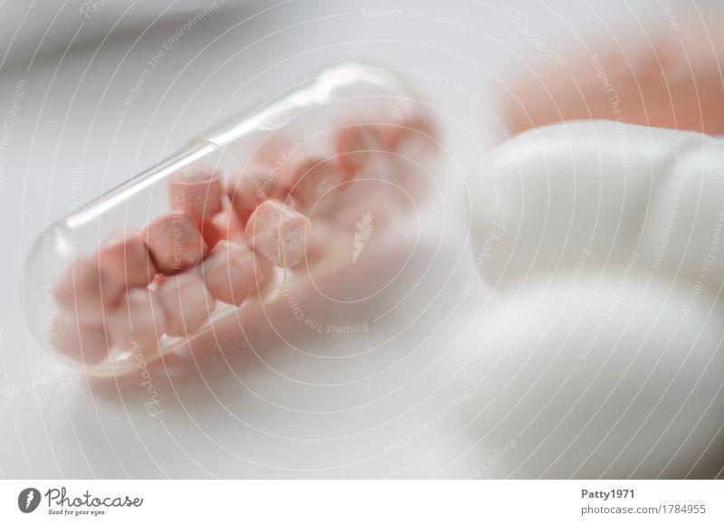 Kapsel Gesundheit Medikament Gesundheitswesen Pharmazie Tablette rund Sauberkeit rosa weiß Schmerz Drogensucht Farbfoto Nahaufnahme Detailaufnahme Makroaufnahme