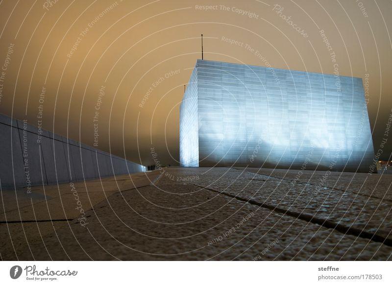 repO reolsO Gedeckte Farben Außenaufnahme Menschenleer Textfreiraum oben Textfreiraum unten Nacht Licht Starke Tiefenschärfe Froschperspektive Nachthimmel