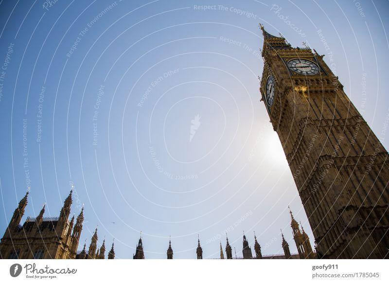 BIG BEN Himmel Ferien & Urlaub & Reisen Stadt Sonne Architektur Gebäude Fassade Metall elegant Europa Beton Schönes Wetter Turm Unendlichkeit Bauwerk