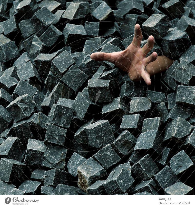 ein pflaster bitte! Mann Hand Arbeit & Erwerbstätigkeit Stein Kapitalwirtschaft Angst Erwachsene Arme Finger gefährlich kaputt Baustelle Schutz gruselig Naturphänomene Stress